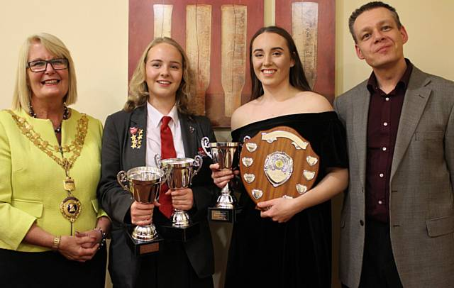 Mayor Madeleine De Souza, with current Head Girl Sian Morton, Mia Howells, and guest speaker Dr Allan Jordan