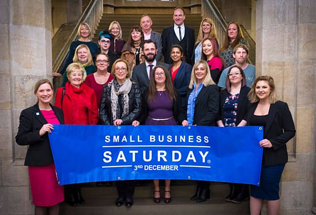 Small Business Saturday Ambassador Ruth Pringle with some of the Rochdale 30 Front left: Small Business Saturday Ambassador Ruth Pringle with some of the Rochdale 30