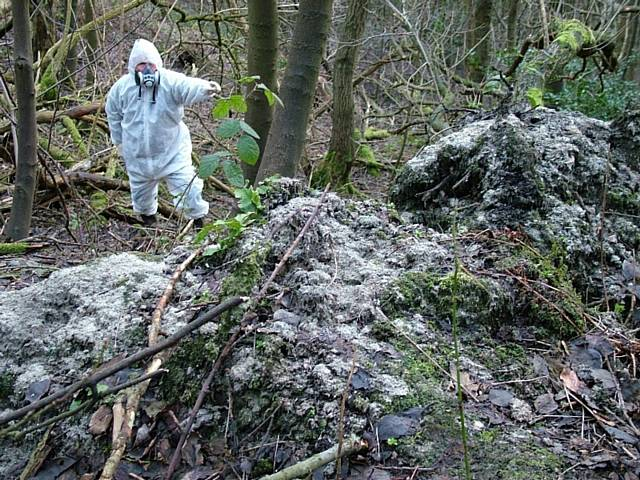 Exposed asbestos in the Spodden Valley in 2005
