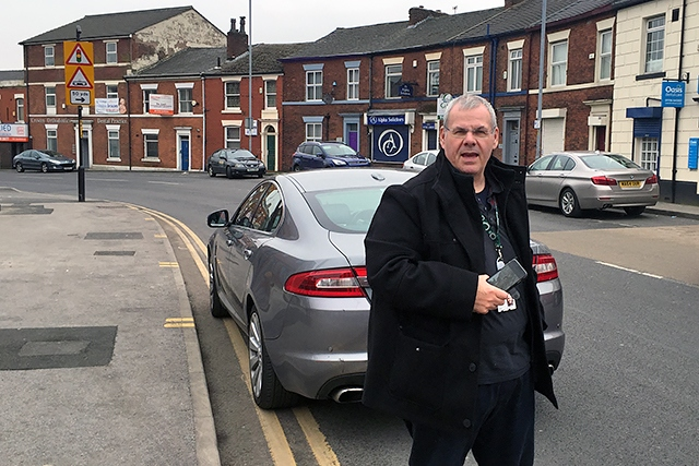 Councillor Richard Farnell illegally parked on Drake Street
