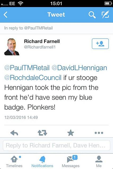 Plonker tweet by Councillor Richard Farnell