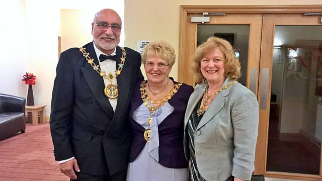 Mayor of Whitworth Lynda Barnes with the Mayor and Mayoress of Rochdale, Surinder and Cecile Biant