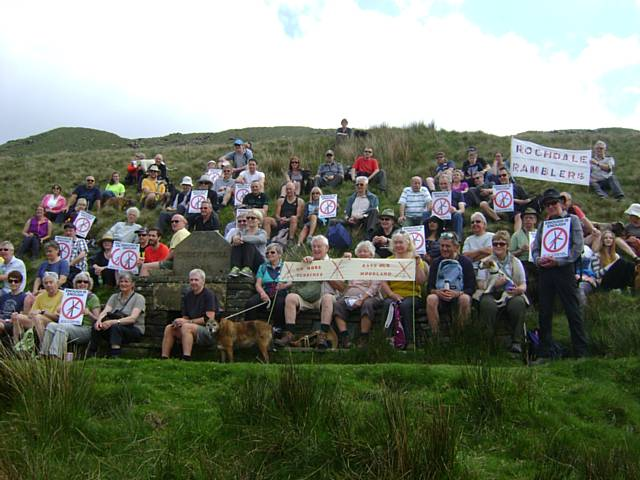 Rochdale Ramblers and other groups meet at Waughs Well to oppose the expansion of the Scout Moor Wind Farm