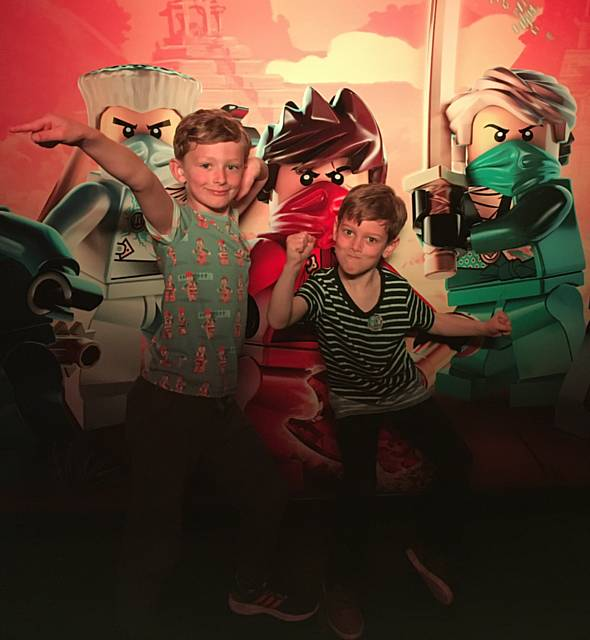 Finn Ashworth and Harry Stocks at the launch of the new 4D film the Lego® Nexo Knights™