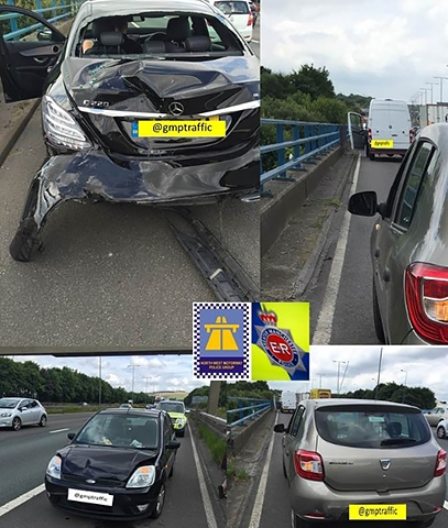 Two collisions at Junction 20 of the M62 (Milnrow)