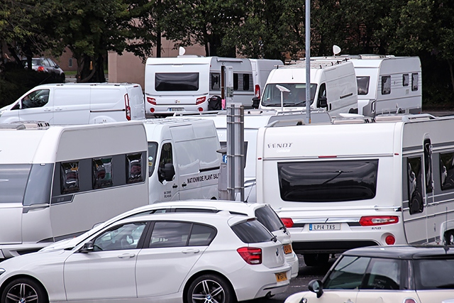 Travellers set up camp on town centre car park