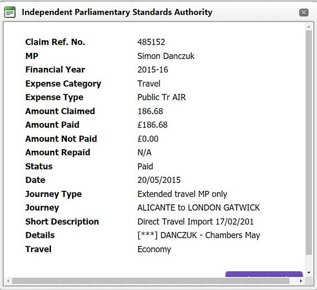 Danczuk wrongly claimed £186.68 for a flight from a family holiday in Alicante