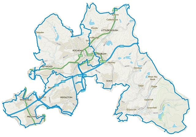 Map of the three new proposed constituencies: Rochdale, Prestwich and Middleton, and Littleborough and Saddleworth.