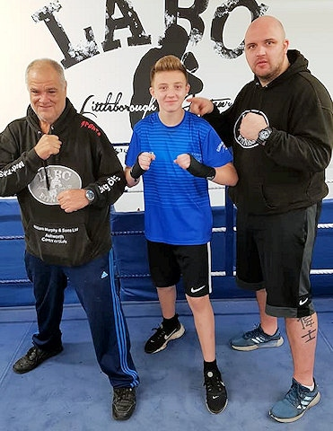 Coach Jeff Leach, Rhys Oldham and Head Coach Mark Oldham - Littleborough Boxing Club