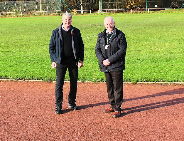 Ian Birchenough with Councillor Shaun O'Neill at Springfield Park running track