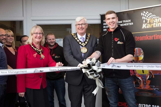 Mayor and Mayoress Ian and Christine Duckworth with Matty Street from Team Karting