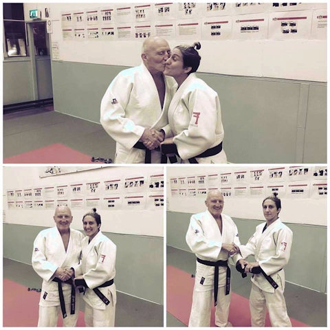 Sophie Cox receives her 5th Dan, from her coach and mentor Brian Moore (7th Dan) at Bacup Judo Club