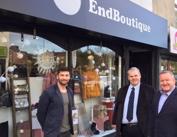 Todd Hayes, Council leader Richard Farnell and Mark Foxley outside the End Boutique