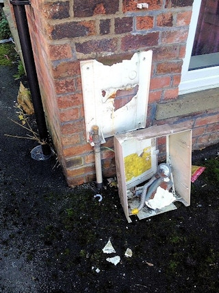 Thieves ripped the gas meter from the wall