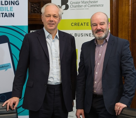 Hamish MacLeod, Director of Mobile UK, with Chris Fletcher, Marketing & Campaigns Director at GMCC.
