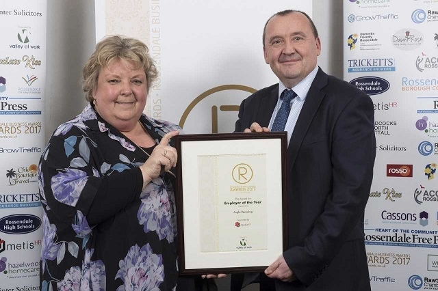 Employer of the Year winner Anglo Recycling, managing director Andy Hall with Alison Driver of sponsor Metis HR Ltd
