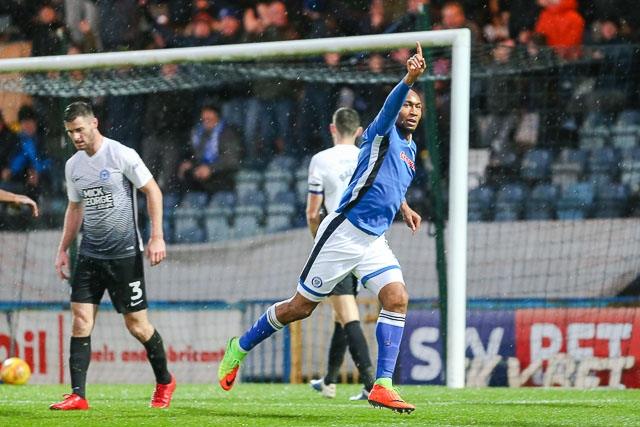 Rochdale v Peterborough United<br /> Calvin Andrew celebrates his goal