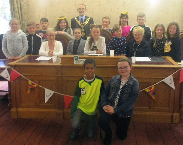 Children from St John with St Michael CE Primary School at Whitworth Council Chambers