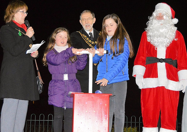 The Mayor and Mayoress of Whitworth, Alan and Janet Neal with Lucy Wilkins and Josephine Ball