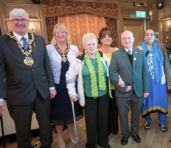 Mayor and Mayoress of Rochdale Ian and Christine Duckworth, Carer Ivy Portlock; Sandra Montgomery of Rochdale Carers' Hub; Counicllor Billy Sheerin; Carer Tahira Riaz