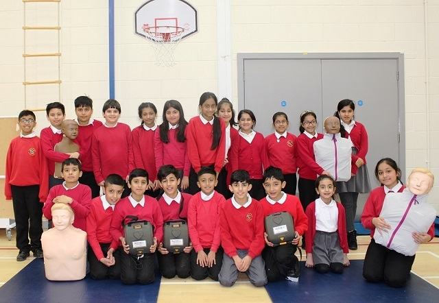 Year Six pupils at Hamer Community Primary School after learning CPR and defibrillation skills