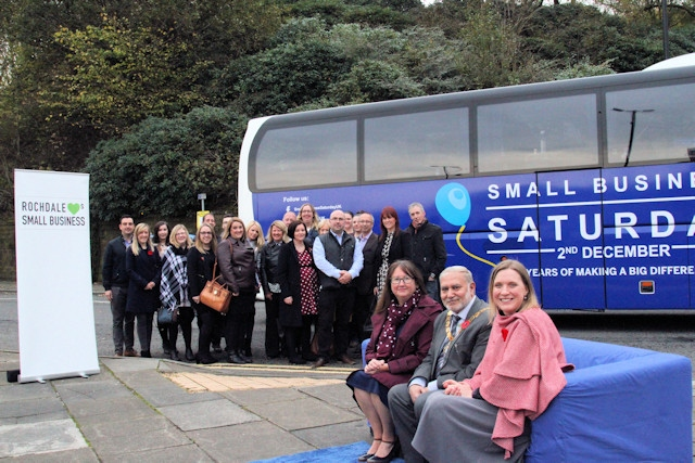 The Rochdale 30 outside the Small Business Saturday bus