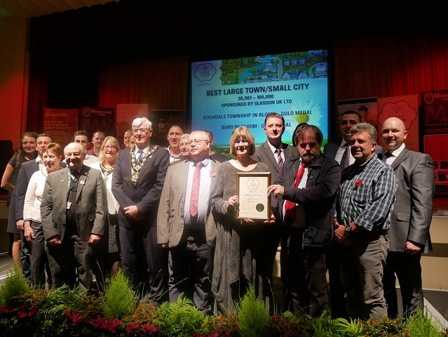 The Rochdale Township in Bloom Team  and council officers receive the gold award