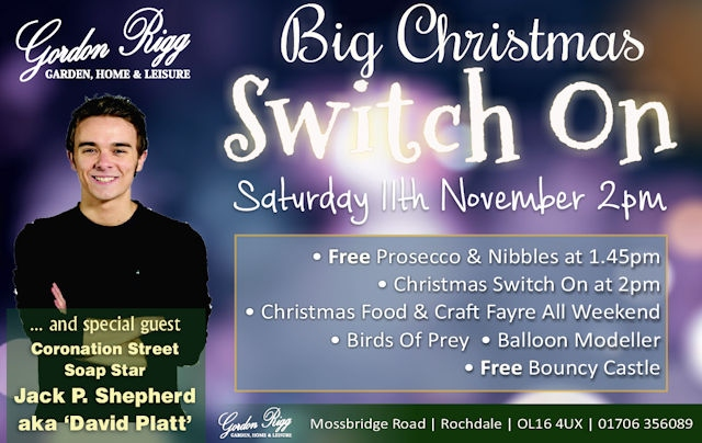 Rochdale's Gordon Rigg Garden Home & Leisure Big Christmas Switch On 2.00pm, Saturday 11 November