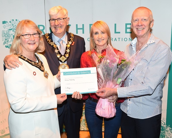 Mr and Mrs Shaw, with the Mayor and Mayoress of Rochdale, were thanked for their 15 years' as foster carers