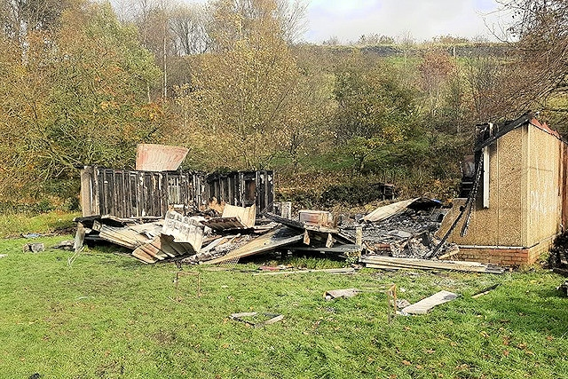 The remains of the clubhouse at Fothergill and Harvey Cricket Club