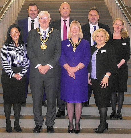 Reside Estate Agency, Highfield Hospital & Apogee Winners Of Dale's Business Raffle, with the Mayor & Mayoress