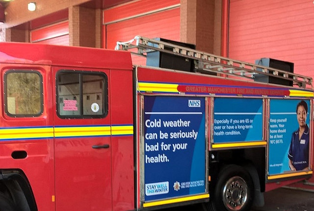 Fire Engine with the Stay Well This Winter message