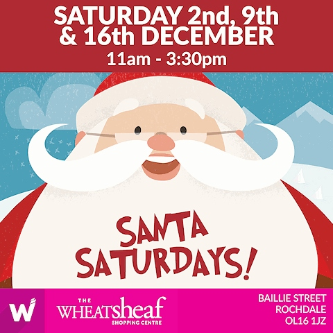 Santa Claus will be on his grand throne in The Wheatsheaf Shopping Centre on 2, 9 and 16 December
