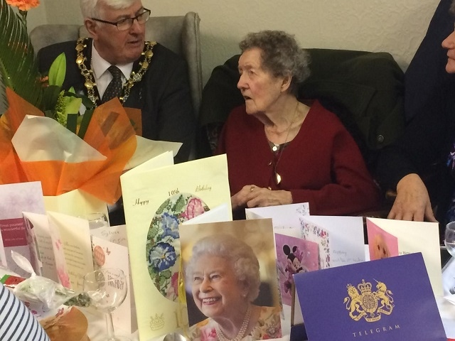 Sylvia Corfield with Mayor Ian Duckworth on her 105th birthday