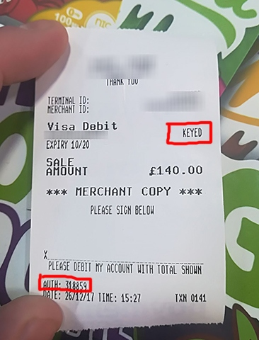 The card was authorised despite no pin being used due to 'customer not present' being keyed