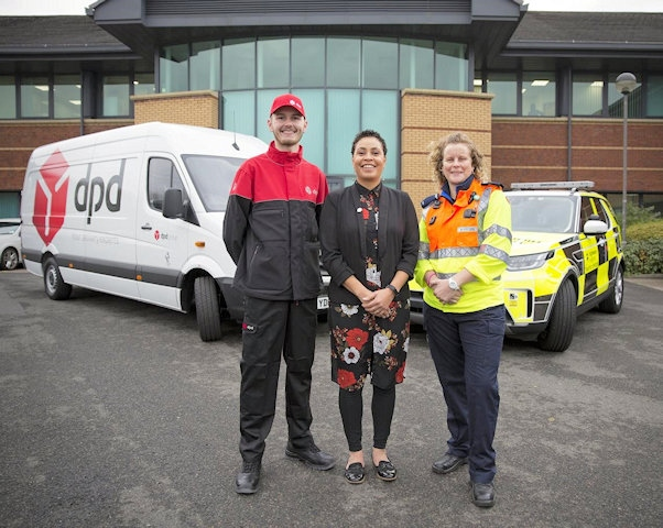 Finn Owens from DPD with Highways England customer service director Melanie Clarke and Highways England traffic officer Vicki Lawton who will be working on Christmas Day to keep traffic moving