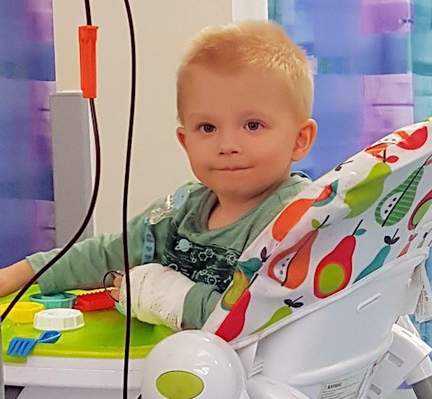 Two-year-old Henry Alderson has a rare condition and needs regular blood transfusions