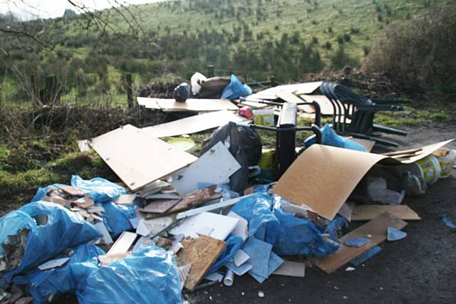 Fly tipping in Ashworth Valley