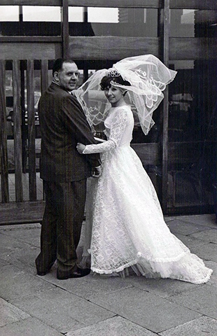 Barbara with her father on her wedding day