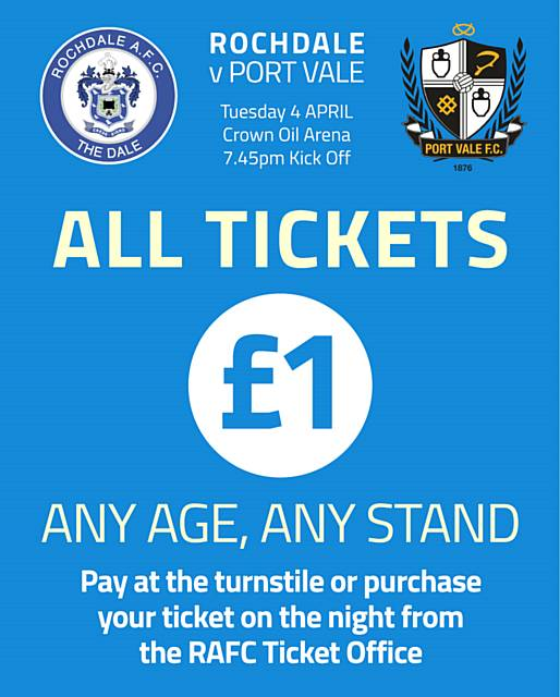 Watch Rochdale's League One fixture v Port Vale on 4 April for just £1