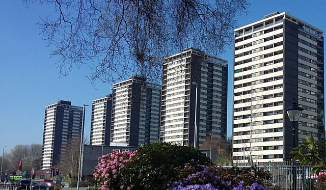 View of Rochdale�s iconic Seven Sisters tower blocks