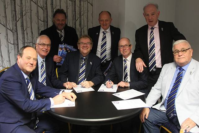 The Rochdale AFC Board of Directors pictures in 2017. From front left to right: David Bottomley, Andrew Kilpatrick, Russ Green, Chris Dunphy, John Smallwood, Paul Hazlehurst, Bill Goodwin, Andrew Kelly.