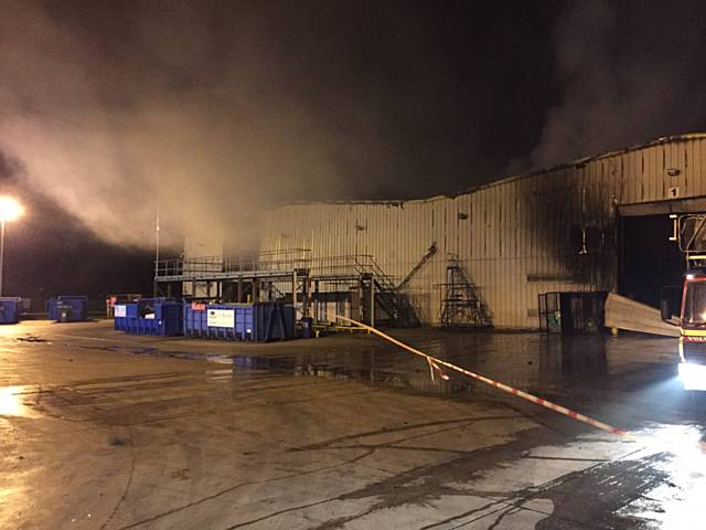 Fire at a recycling plant in Chichester Street, Rochdale