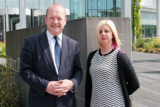 Simon Danczuk outside Number One Riverside with his new election agent Emma King ready to submit his election nomination papers