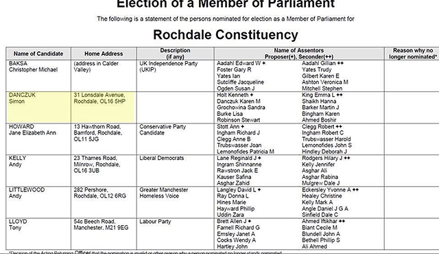 General Election Rochdale Constituency  paper showing Danczuk's address as Lonsdale Avenue