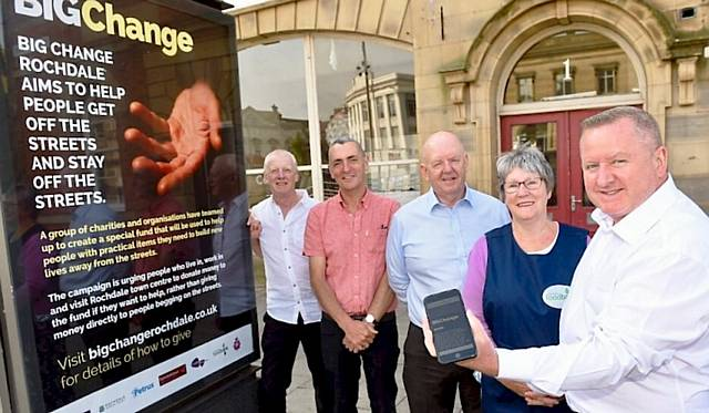 Big Change: Richard Shaw, Sanctuary Trust; Denis Skelton, Petrus; Councillor Shaun O'Neill, Chair of the Rochdale Township; Margaret Wight, Rochdale Foodbank; Mark Foxley, Rochdale Town Centre Management