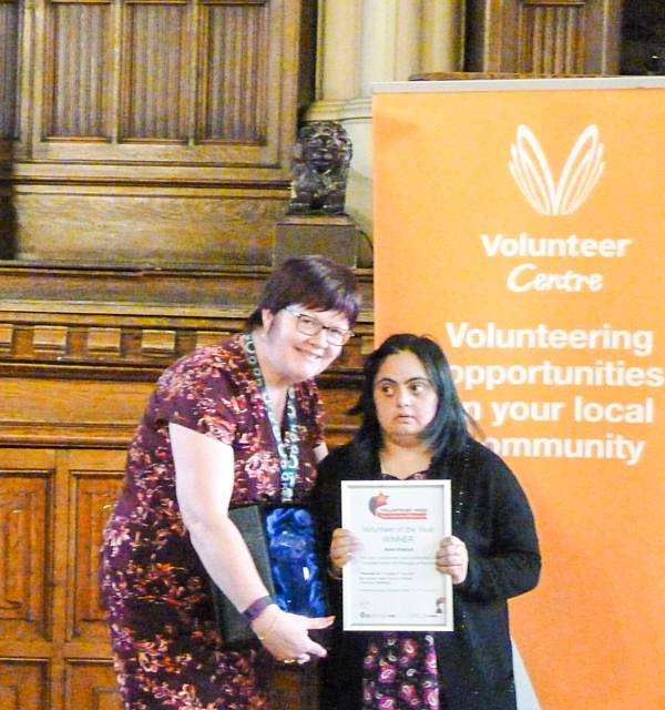 Naila Shafqut � Volunteer of the Year 2017 presented by Cllr Janet Emsley