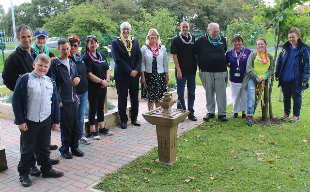 Mayor and Mayoress of Rochdale joined volunteers at Q Gardens for the official opening of the new sensory garden
