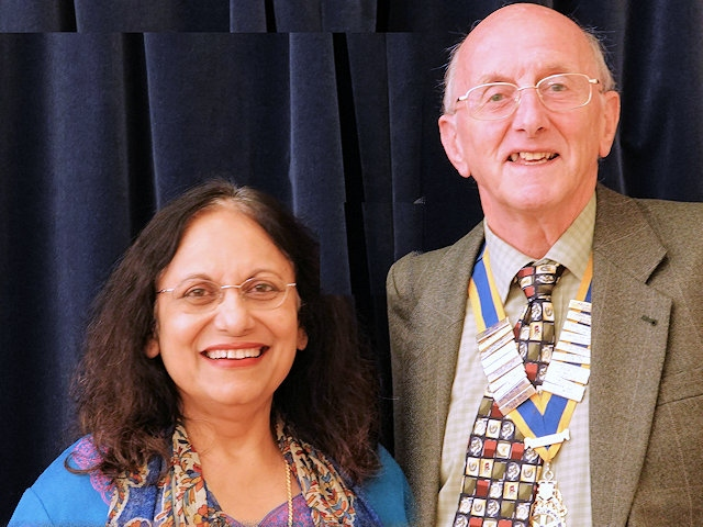 Rochdale Rotary Club President Keith Banks with Assistant District Governer Swati Mukherjee
