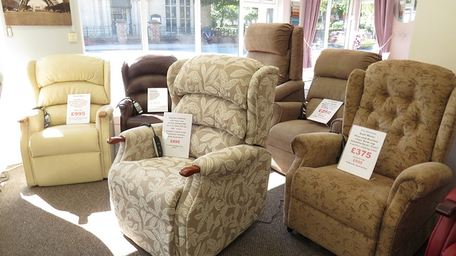 Top quality, British-made, Rise-and-Recline chairs stocked by Simpson Furniture